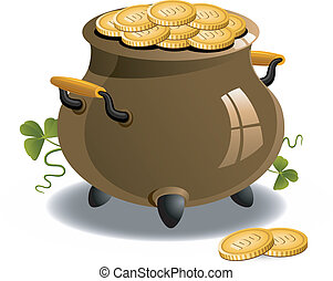 Pot, Gold, (St, Patrick's, Day)