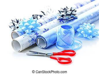 Christmas wrapping paper rolls - Rolls of Christmas wrapping...