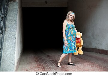 Woman and teddy-bear