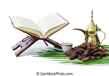 Thge Holy Quran with Dates Fruit and Arabic Coffee Pot