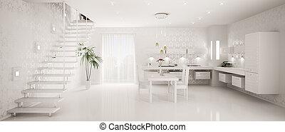 Interior design of modern kitchen panorama 3d render -...