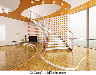 Living room with staircase interior design 3d render -...