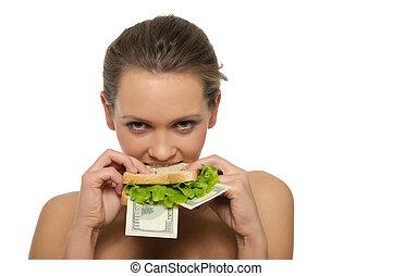 mulher, Morder, sanduíche, saída, mone