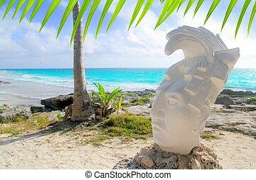 Caribbean Tulum Mexico beach mayan face statue figure
