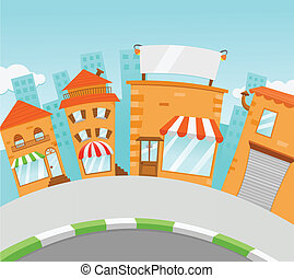 Shopping Street Cartoon Style