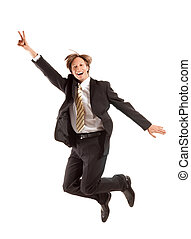 successful business man jump on a white background