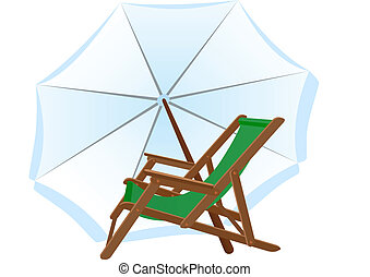 Sunbeds and parasol. Subjects to relax on the beach.