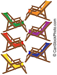 Sunbeds - A set of colored deck chairs to relax on the beach
