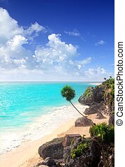 Caribbean beach Tulum Mexico turquoise aqua