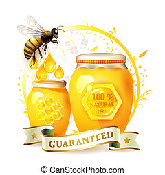 Glass jar with honey and bee over floral background isolated...