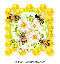 Bees with flowers and honeycombs
