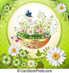 Flowers in the flowerpot and butterflies