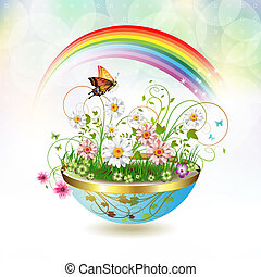 Flowers in flowerpot and butterflies