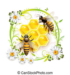 Two bees and honeycombs over floral background isolated on...