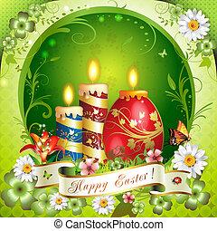 Easter card with butterflies, candles and decorated egg