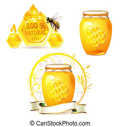 Glass jar with honey and bee isolated on white