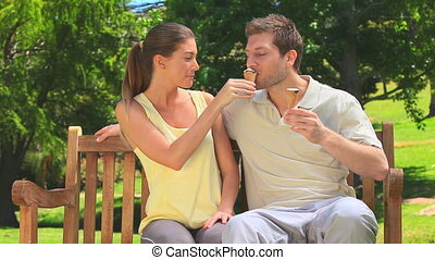 Cute couple eating ice creams