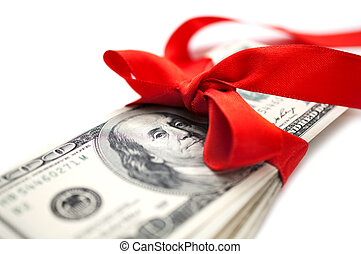 dollars with red ribbon - Stack of dollar bills with red...