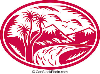 Mountain with river and cabbage tree - illustration of a...
