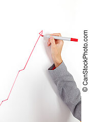 draws a graph - business woman draws a graph on the wall