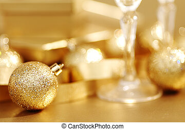 christmas background - golden christmas background champagne...