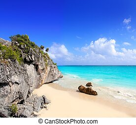 Caribbean beach in Tulum Mexico under Mayan ruins Mayan...