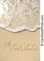 Mexico Written in Sand on Beach