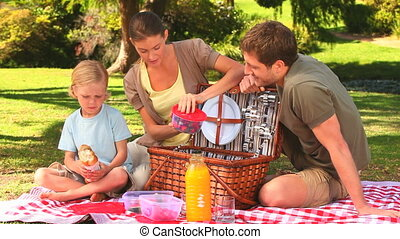 Cute family with picnic basket - Cute family putting the...