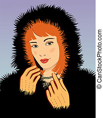 young beautiful woman in a black fur coat vector...
