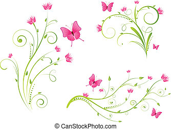 Floral elements and butterflies set - Set of beautiful...