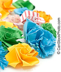Colorful origami flowers
