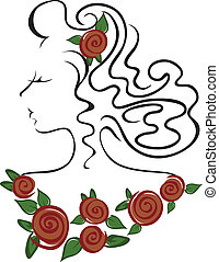 girl in the roses - female head with roses on the neck and...
