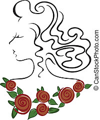 Girl with a necklace of roses - contour of a womans head...