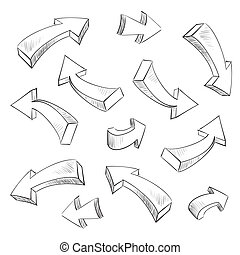 3D, Seta, sketchy, desenho, elementos, jogo, vetorial,...