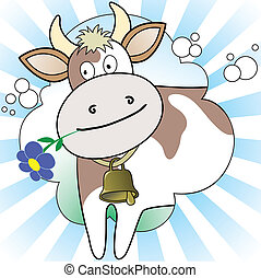 Cow on the radiant background - cow with a flower in radiant...