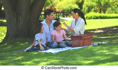 Family opening a picnic basket - Family opening their picnic...