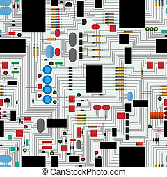 Circuit  board - Repeating circuit board pattern vector