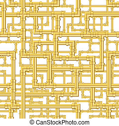 Pipes Pattern - Interwaving gold pipes repeating pattern...