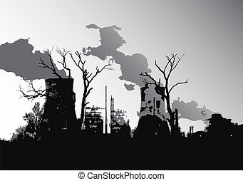 Power Station - Power station silhouette vector illustration...