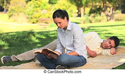 Woman reading a book in a park - Woman reading a book on a...