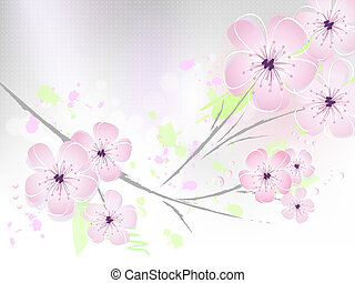 Flower background - cherry blossoms - Pink floral spring...
