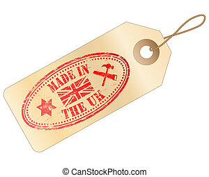 "Made In The UK Tag - Tag with ""MADE IN THE UK\"" Rubber..."