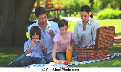 Attractive family having a picnic under a tree in a park