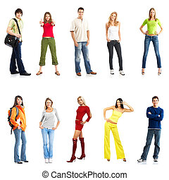 young people - young smiling people. Isolated over white...