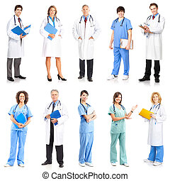 Doctors - Smiling medical doctors with stethoscope. Isolated...