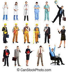 Workers - Businessmen, builders, nurses, architect. Isolated...