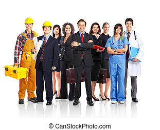 business people - Large group of smiling people. Over white...