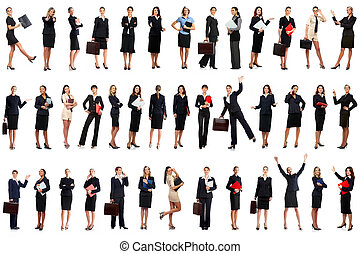 Business women - Smiling business women. Isolated over white...