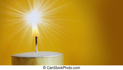 Bright light - One Burning candle in a yellow background