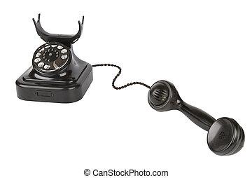 Vintage black phone - Black retro-styled telephone isolated...